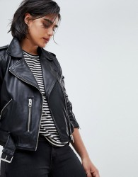 AllSaints Leather Balfern Biker Jacket - Black