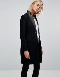 AllSaints Leni Coat with Leather Lapel - Navy