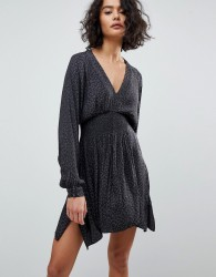 AllSaints Leopard Ruched Dress - Black
