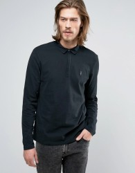 AllSaints Long Sleeve Polo Shirt - Black