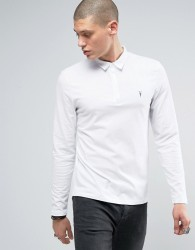 AllSaints Long Sleeve Polo Shirt In White With Logo - White