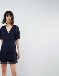 AllSaints Marley Flippy Dress with Glitter Spot Detail - Blue