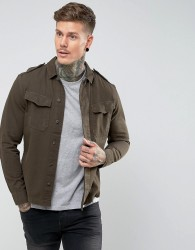 AllSaints Overshirt With Military Pockets - Green