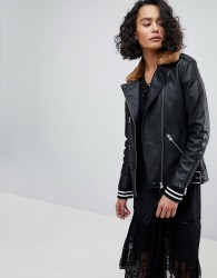 AllSaints Oversized Leather Jacket with Faux Fur Collar - Black