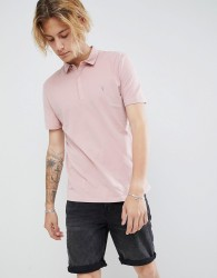 AllSaints Polo Shirt In Peached Cotton - Pink