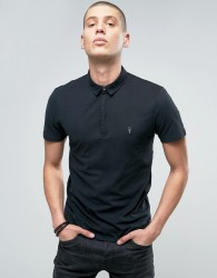 AllSaints Polo Shirt with Branding - Black