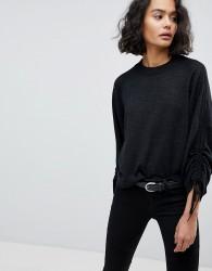 AllSaints Ruched Sleeve Jumper - Black