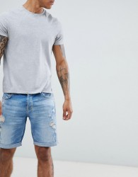 AllSaints Skinny Fit Denim Shorts With Distress In Indigo Blue - Blue