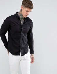 AllSaints Slim Fit Shirt with Logo - Black