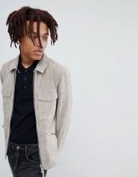 AllSaints suede biker jacket in grey - Grey