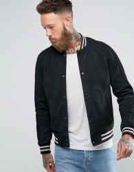 AllSaints Suede Varsity Jacket - Navy