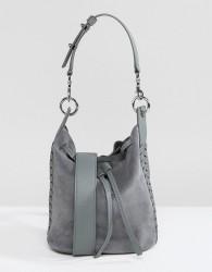 AllSaints Suede Whipstitch Bucket Bag - Blue