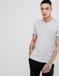 AllSaints T-Shirt In Grey Marl With Logo - Grey