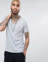 AllSaints T-Shirt with Scoop Neck and Logo - Grey