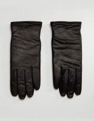 AllSaints Yield Leather Gloves In Black - Black