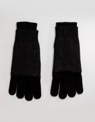 AllSaints Yukon Gloves In Merino Wool Blend - Black