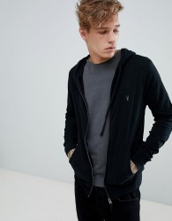 AllSaints zip through lightweight hoodie in black - Black