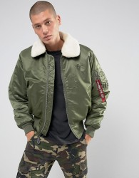 Alpha Industries B15 Faux Shearling Collar Bomber Jacket in Sage Green - Green