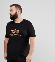 Alpha Industries Gold Foil Print Crew Neck T-Shirt in Black - Black
