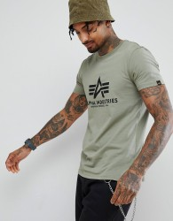 Alpha Industries Logo T-Shirt in Olive - Green