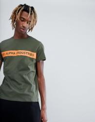 Alpha Industries Orange Stripe Logo T-Shirt in Green - Green