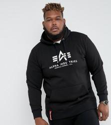 Alpha Industries PLUS Logo Hoodie Sweatshirt in Black - Black