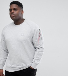 Alpha Industries PLUS X-Fit Tab Sleeve Crewneck Sweatshirt in Grey Marl - Grey