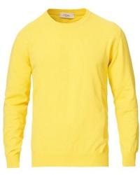 Altea Cotton Crew Neck Sweater Yellow men XXL Gul