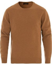 Altea Virgin Wool Crew Neck Sweater Camel men XL Brun