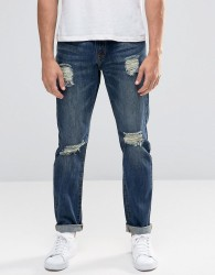 Always Rare Slim Fit Jeans With Rips - Blue