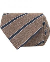 Amanda Christensen Cotton/Silk Melange Striped 8 cm Tie Brown/Navy men One size Brun
