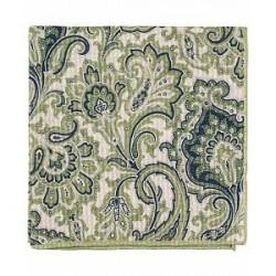 Amanda Christensen Cotton/Silk Seersucker Printed Paisley Pocket Squar