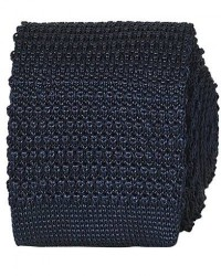 Amanda Christensen Knitted Silk Tie 6 cm Navy men One size Blå