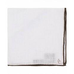 Amanda Christensen Linen Handrolled Pocket Square White/Brown