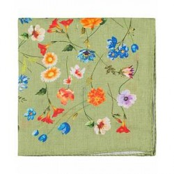 Amanda Christensen Linen Printed Flower Pocket Square Light Green