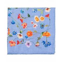Amanda Christensen Linen Printed Flower Pocket Square Sky Blue