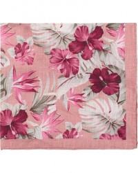 Amanda Christensen Linen Printed Leaf Flowers Pocket Square Pink men One size Pink