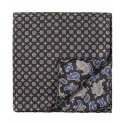 Amanda Christensen Silk Doublefaced/Medallion Pocket Square Black
