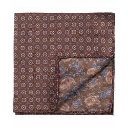 Amanda Christensen Silk Doublefaced/Medallion Pocket Square Brown