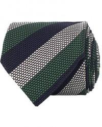 Amanda Christensen Silk Grenadine Striped 8 cm Tie Navy/Green/White men One size Blå,Grøn
