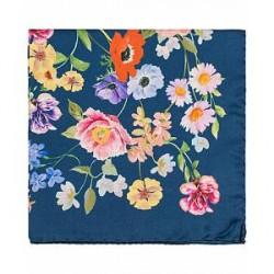Amanda Christensen Silk Printed Flower Pocket Square Navy