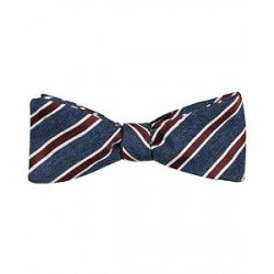 Amanda Christensen Silk/Cotton Jacquard Stripe Self Bowtie Navy/Red