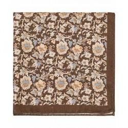 Amanda Christensen Silk/Cotton Printed Flower Pocket Square Chocolate