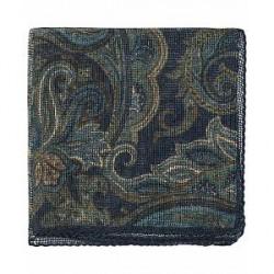 Amanda Christensen Wool Garca Printed Paisley Pocket Square Navy