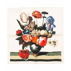 Amanda Christensen Wool Printed Flower Pocket Square White