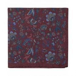 Amanda Christensen Wool Printed Flower Pocket Square Wine Red