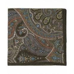 Amanda Christensen Wool Printed Paisley Pocket Square Green