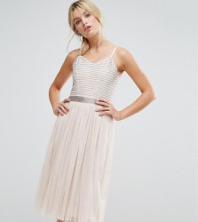 Amelia Rose Midi Cami Strap Dress with Tulle Skirt and Embellished Upper - Brown