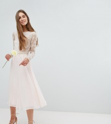 Amelia Rose Tall Embroidered Long Sleeve Midi Dress With Plunge Back Detail - Pink