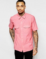 American Apparel Short Sleeve Chambray Shirt In Regular Fit - Pink